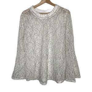 Neutral Floral Sheer Lace Boho Bell Sleeve Blouse